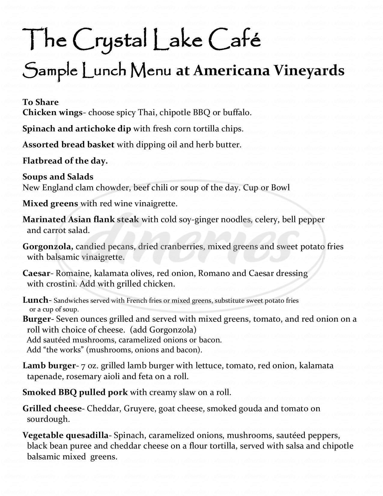 menu for Crystal Lake Cafe