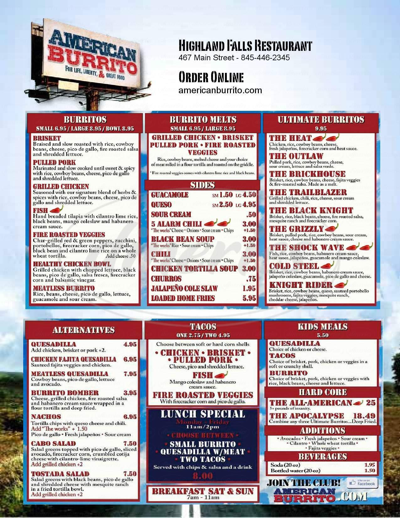 menu for American Burrito