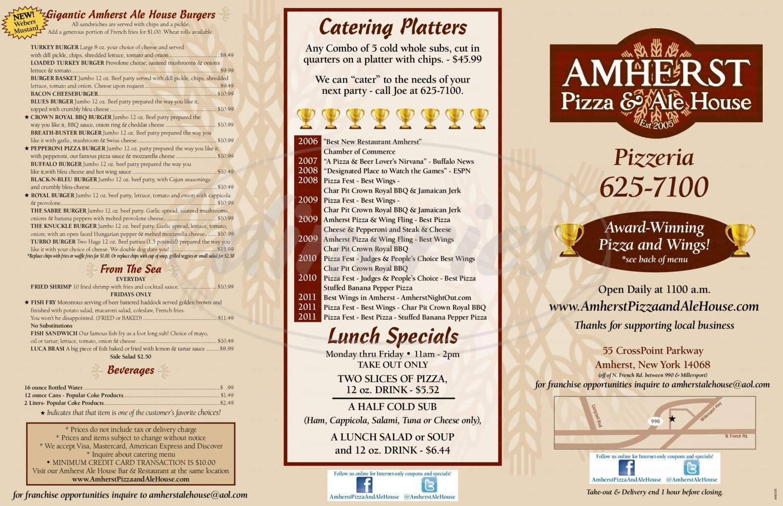 menu for AMHERST PIZZA & ALE HOUSE