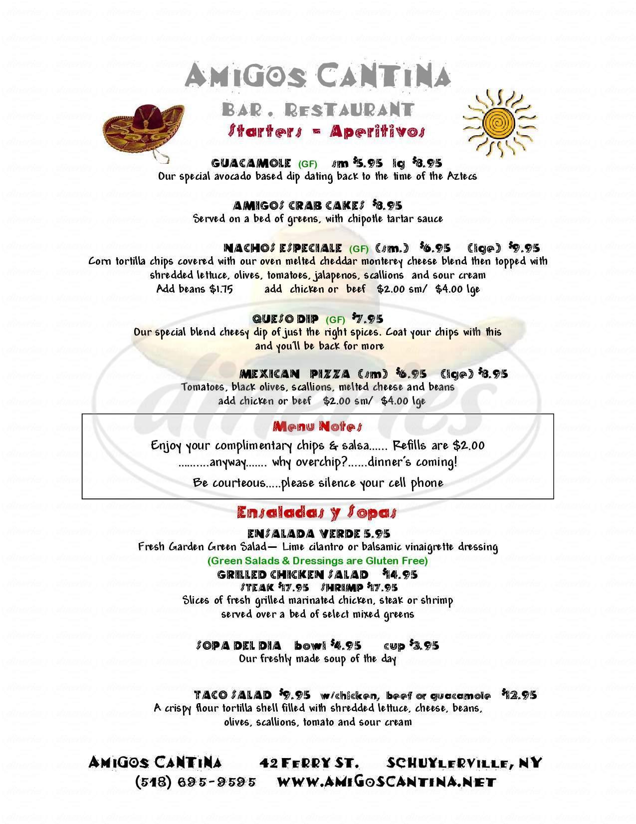 menu for Amigos Cantina