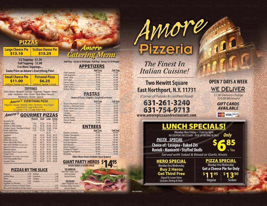 menu for Amore Pizza