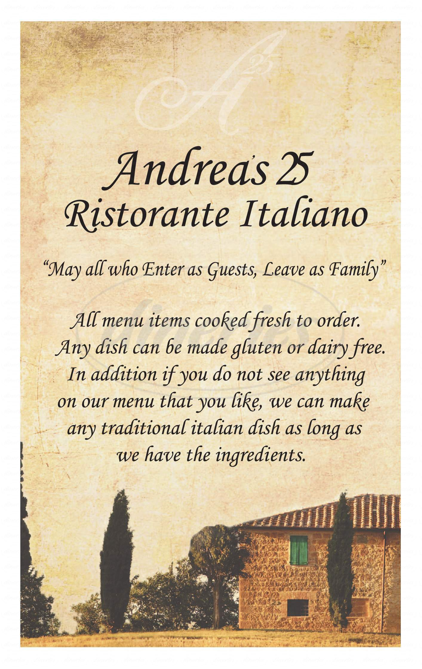 menu for Andrea's 25