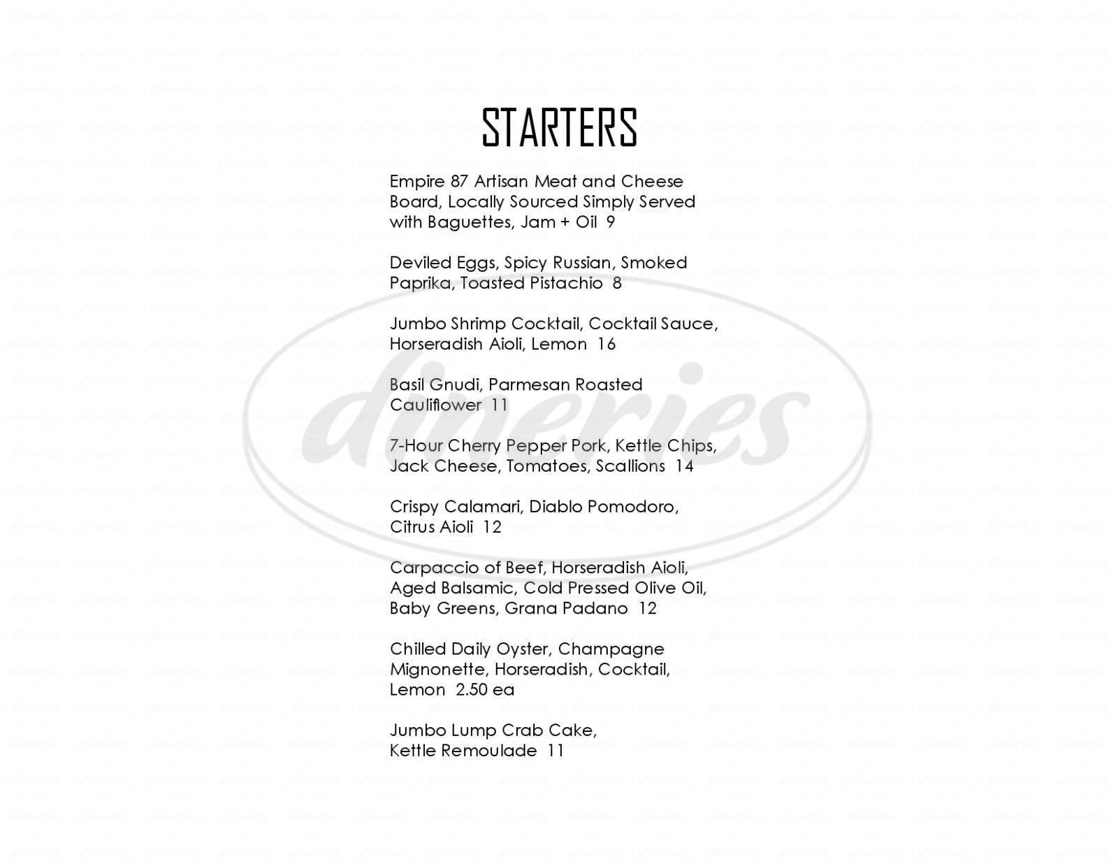menu for Angelo's Prime Bar and Grill
