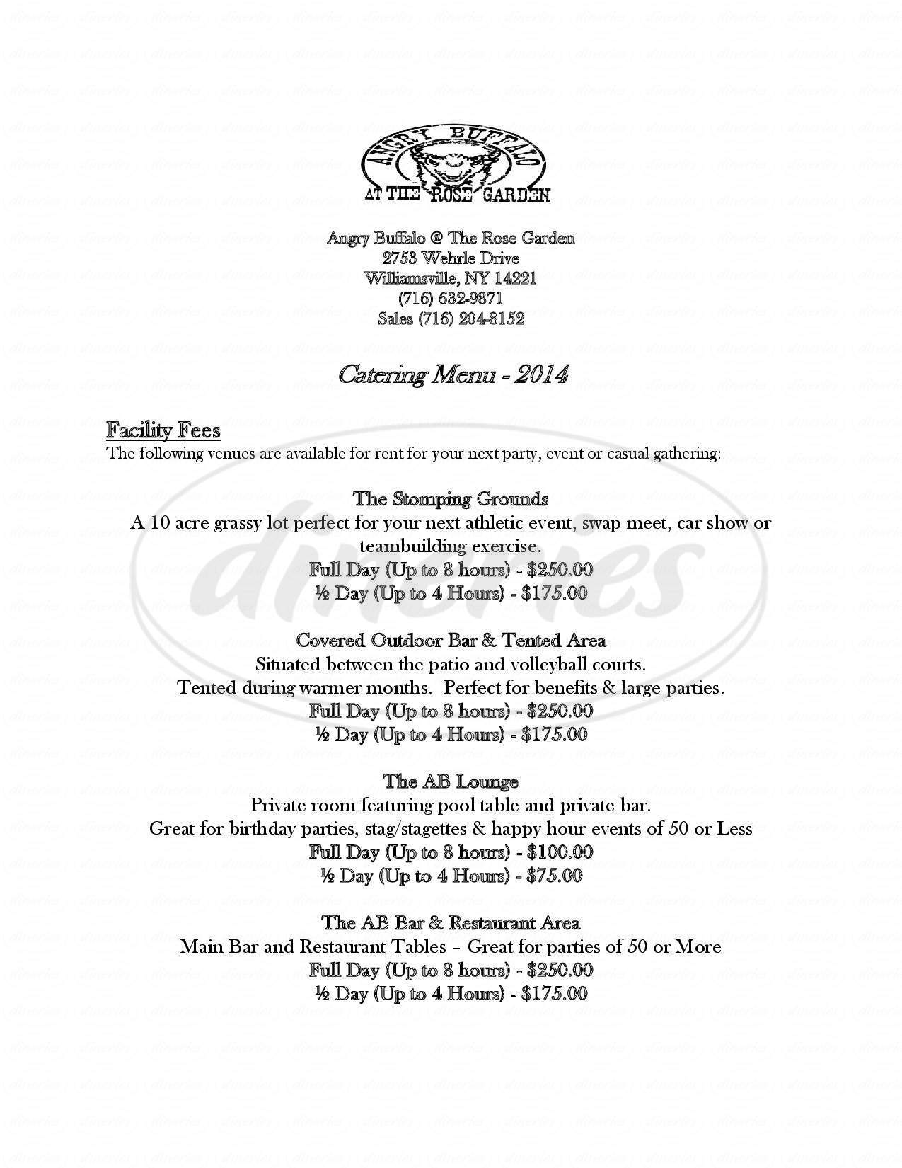 menu for Angry Buffalo at The Rose Garden