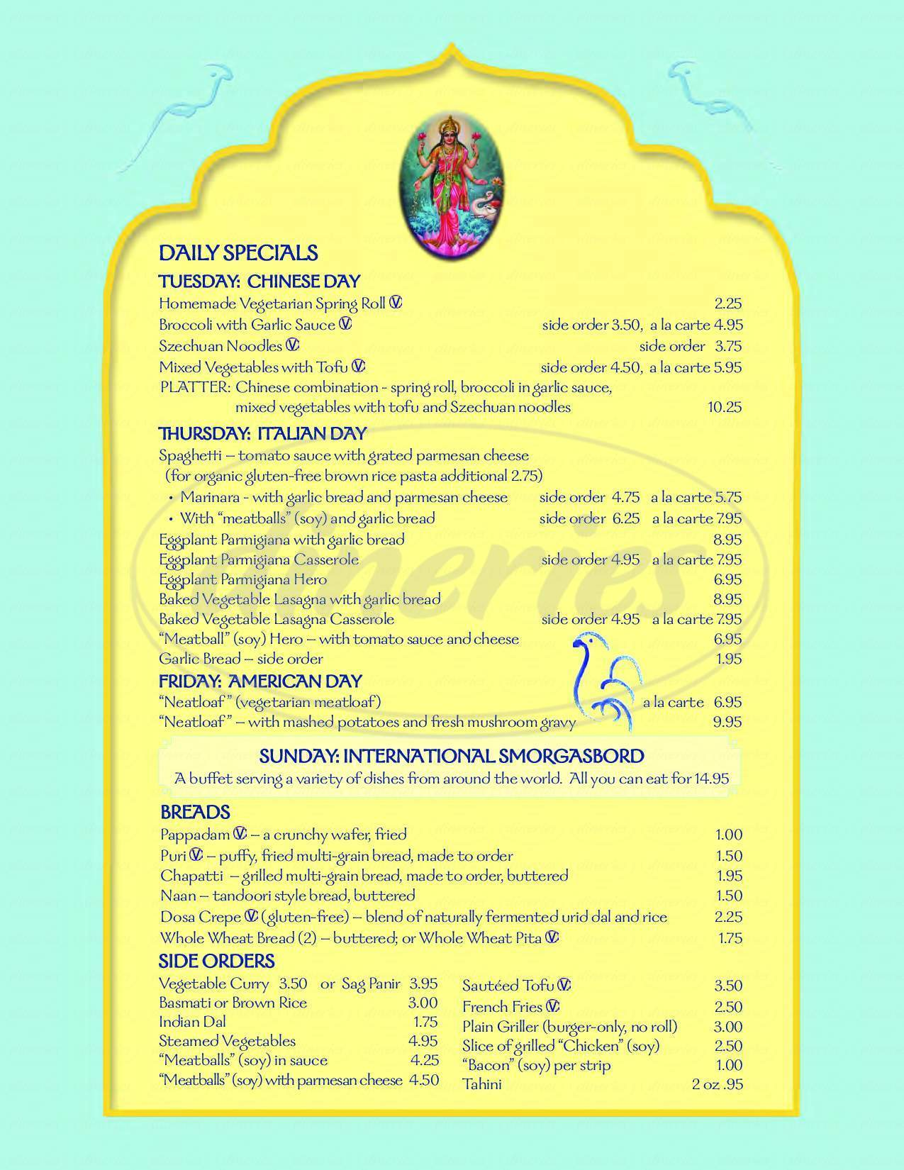 menu for Annam Brahma