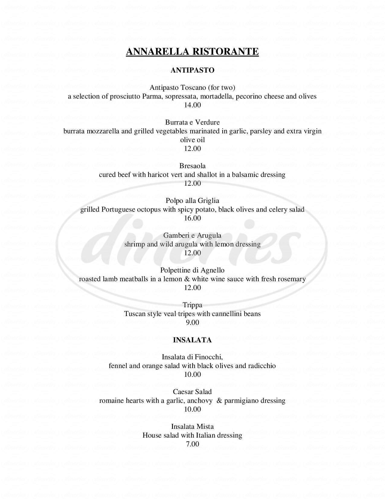 menu for Annarella Ristorante