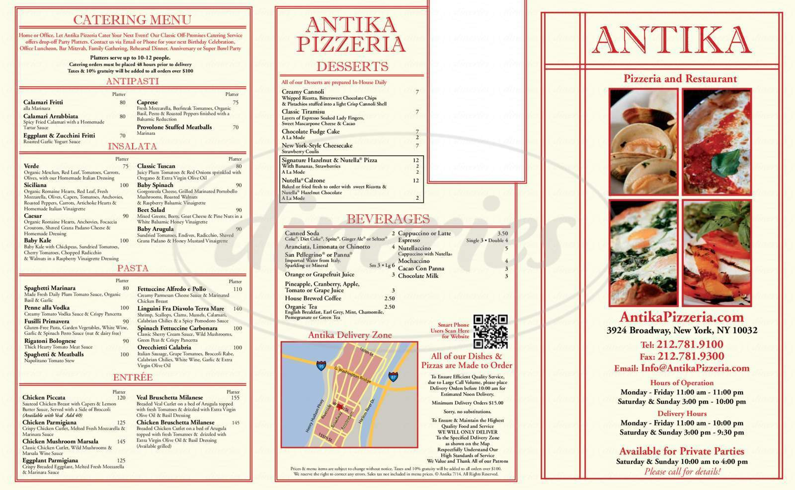 menu for Antika
