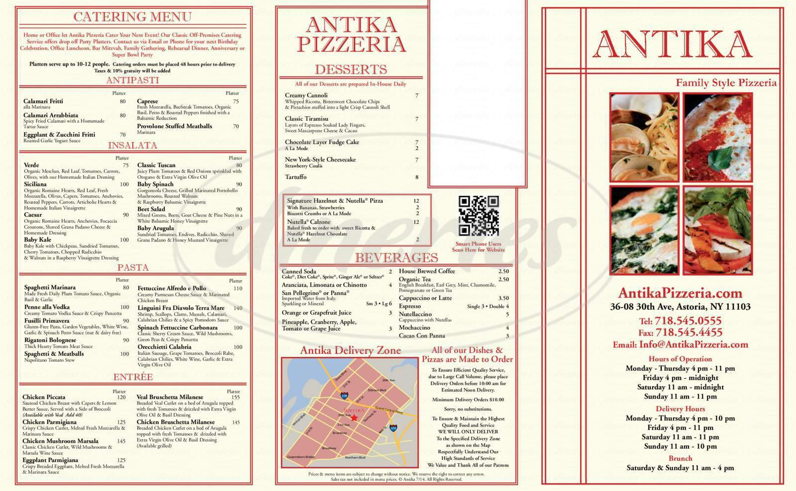 menu for Antika Pizzeria