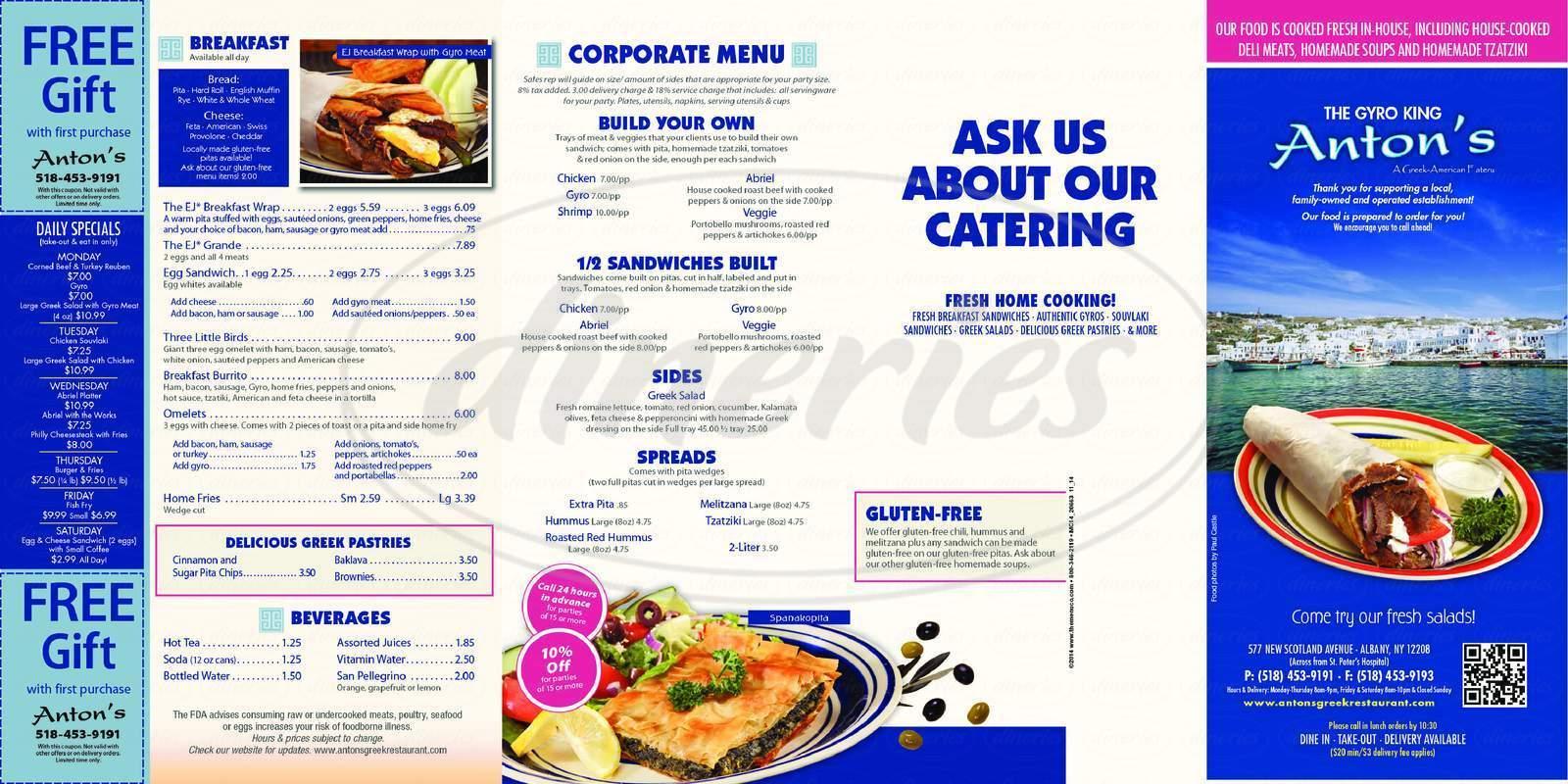 menu for Anton's