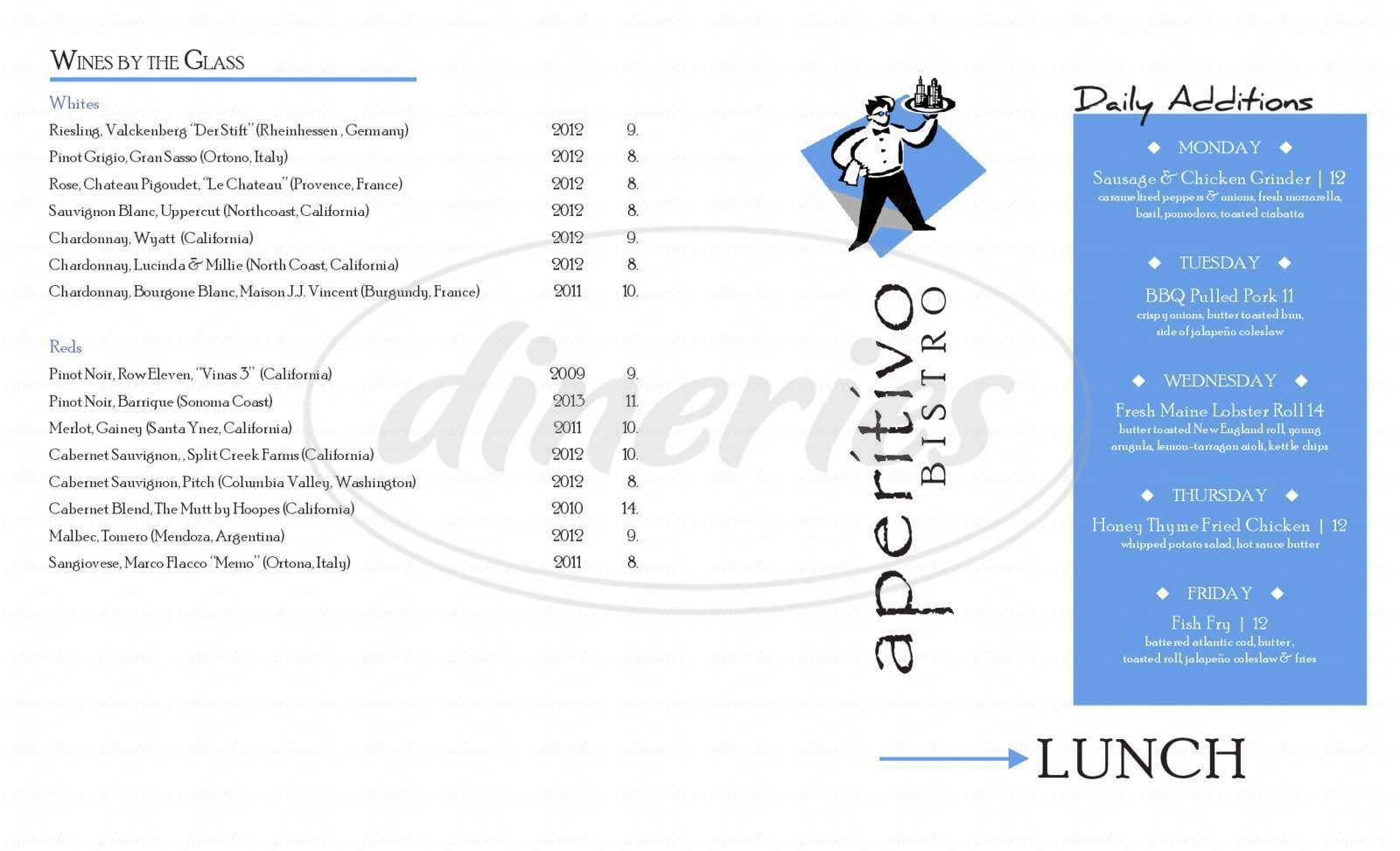 menu for Aperitivo Bistro