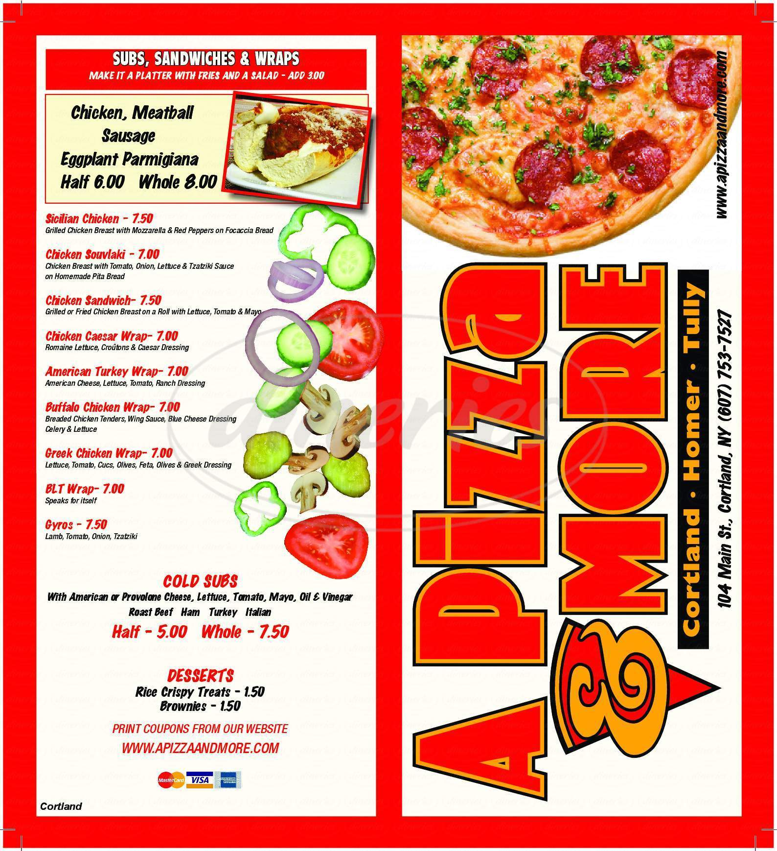 menu for A Pizza & More