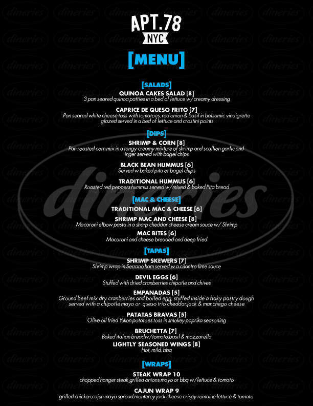 menu for APT 78