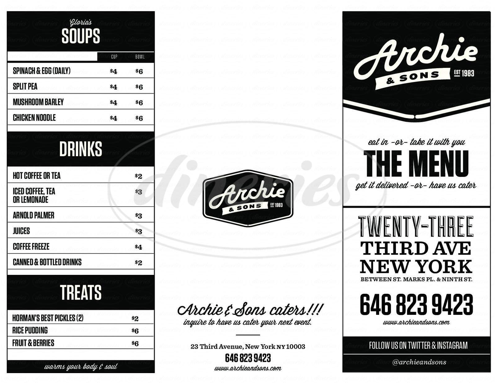 menu for Archie & Sons