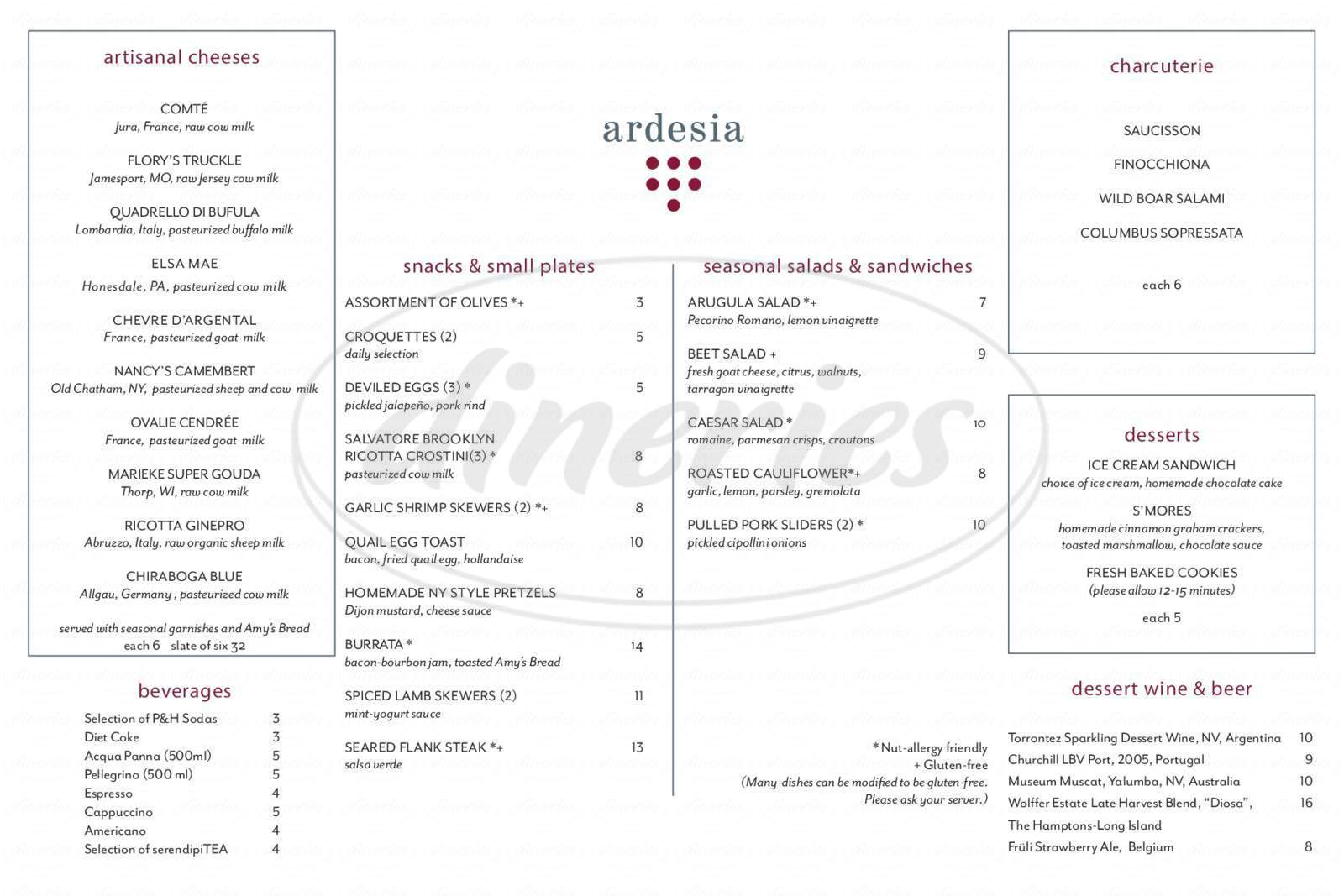 menu for Ardesia