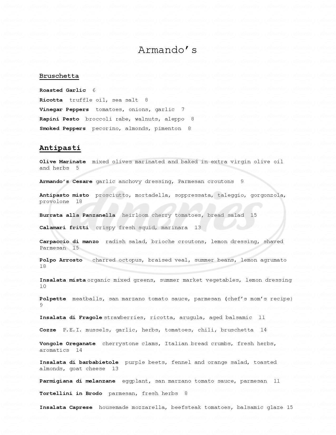 menu for Armando's