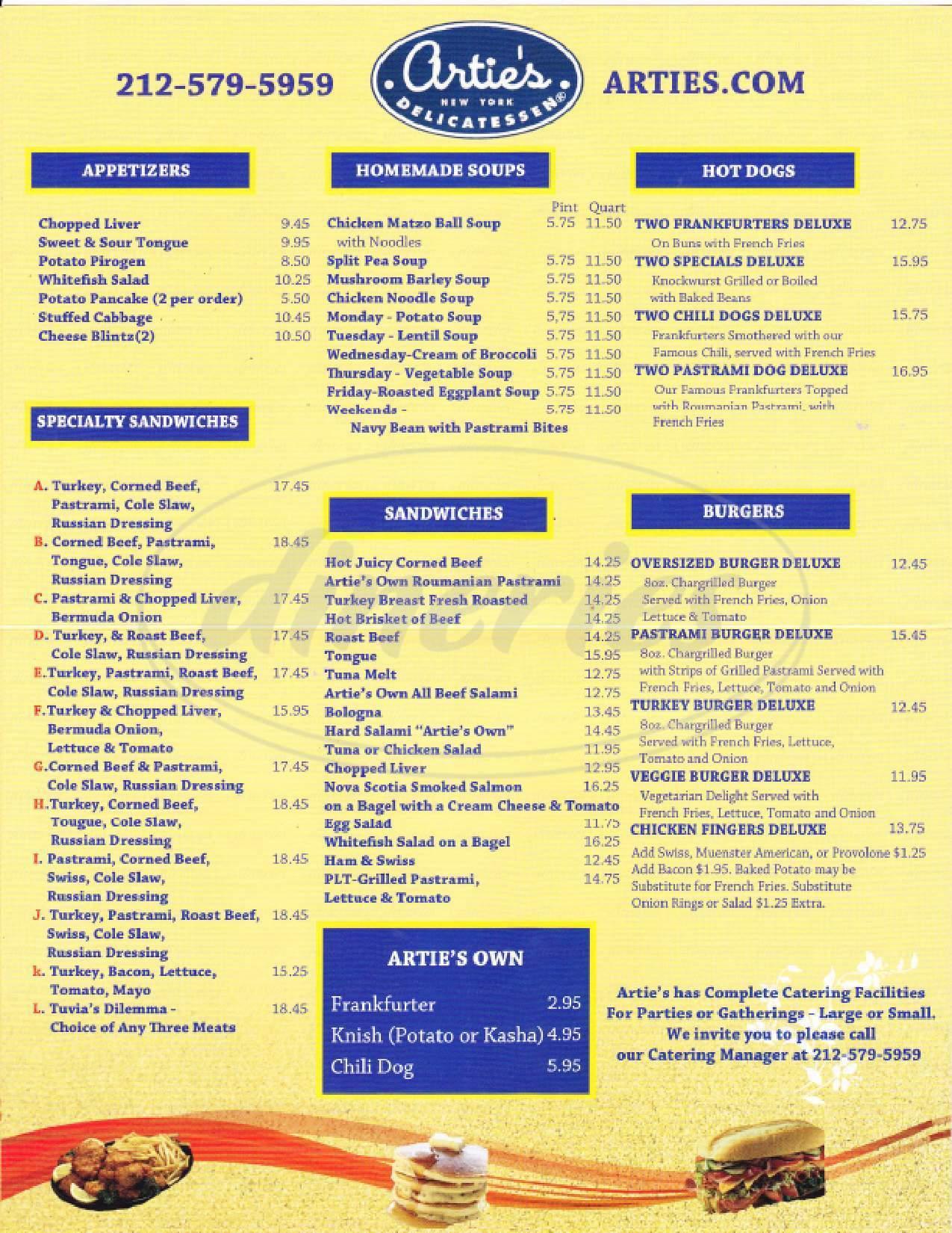 menu for Artie's Delicatessen
