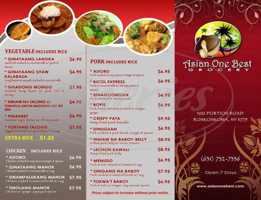 menu for Asian One Best Grocery
