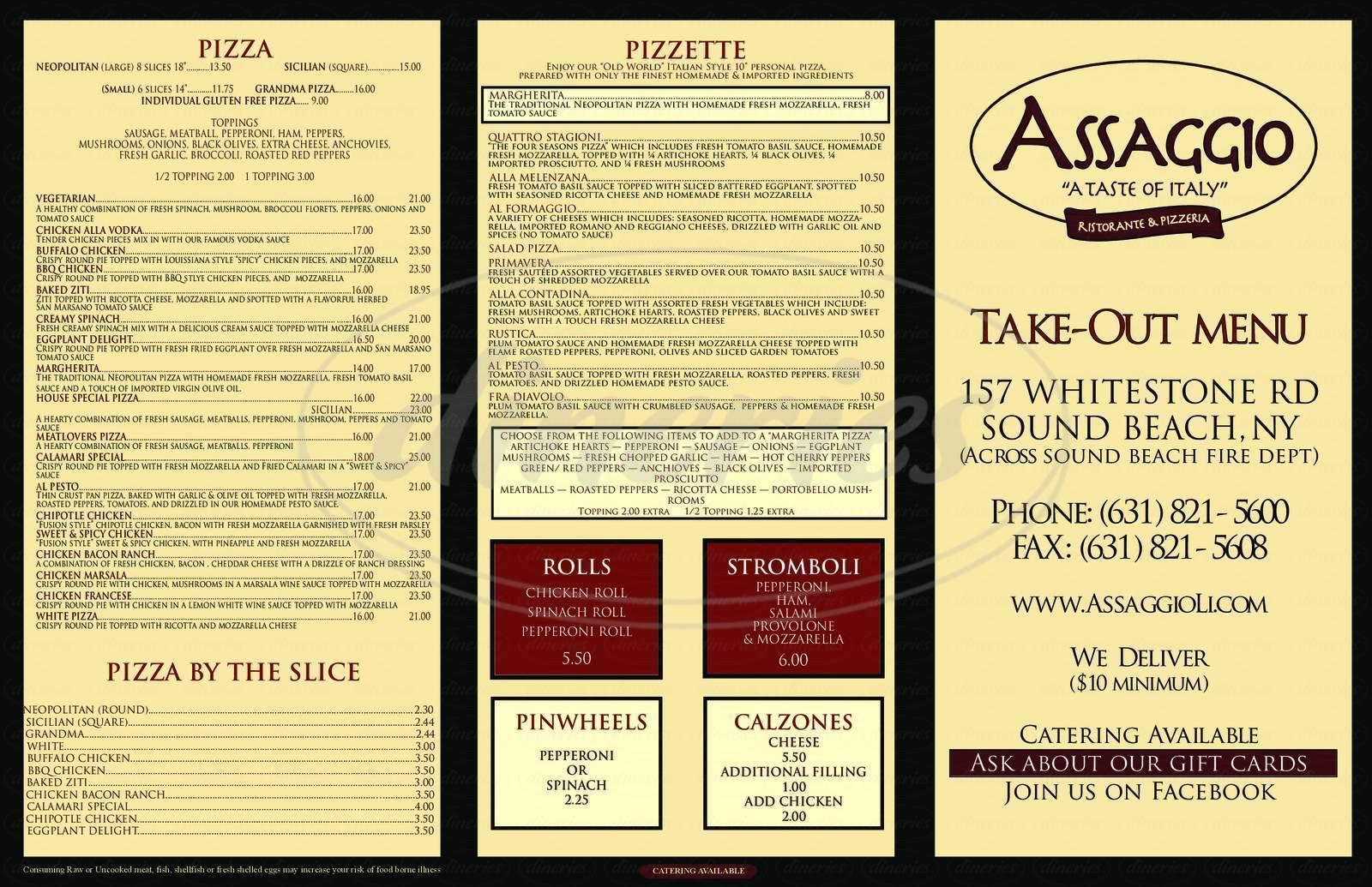 menu for Assaggio Ristorante & Pizzeria