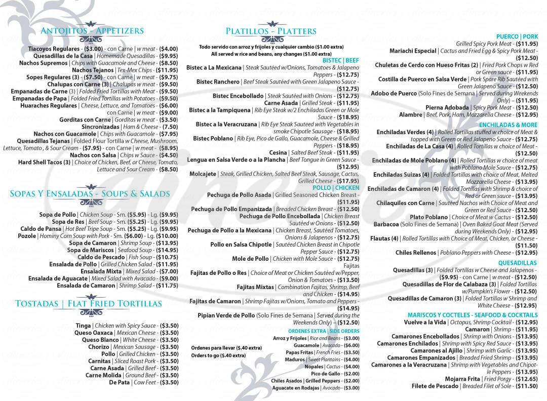 menu for El Mariachi Restaurant