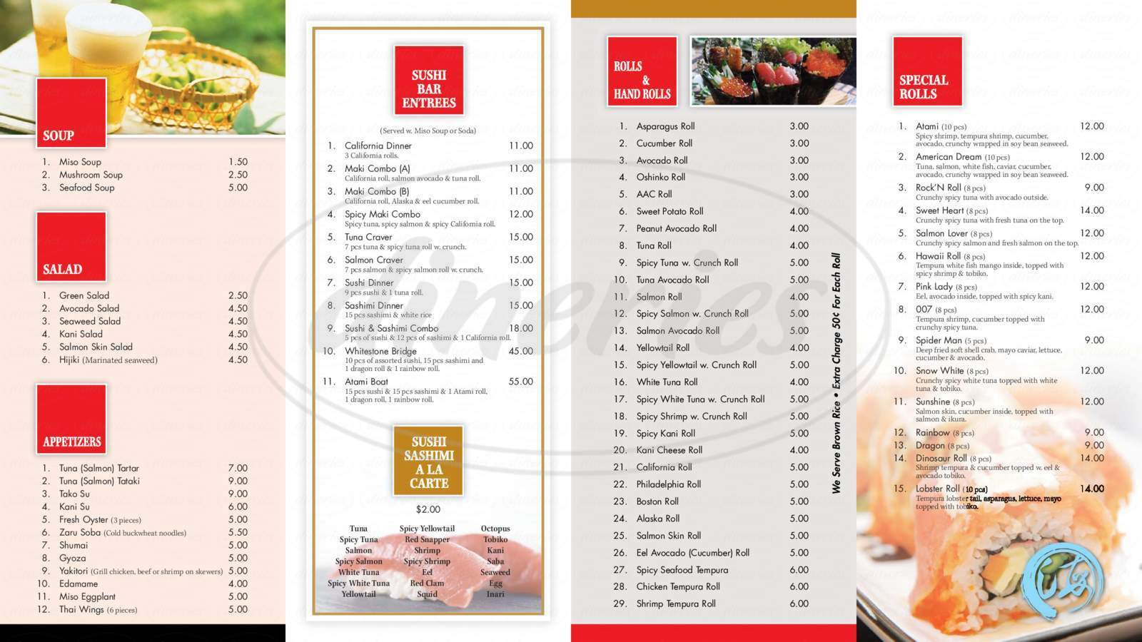 menu for Atami Japanese Sushi Buffet
