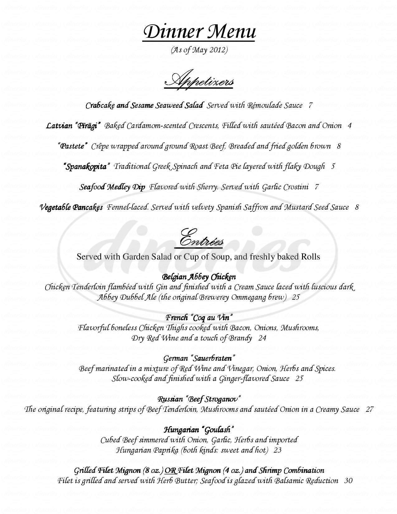 menu for A Taste of Europe