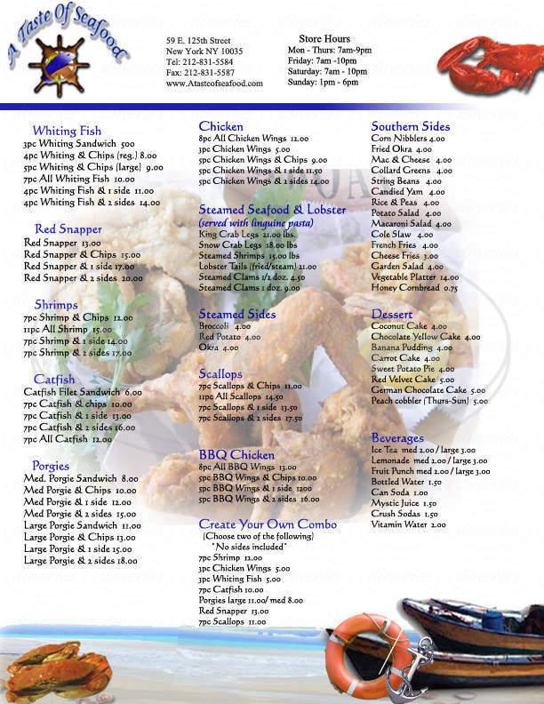 menu for A Taste Of Seafood