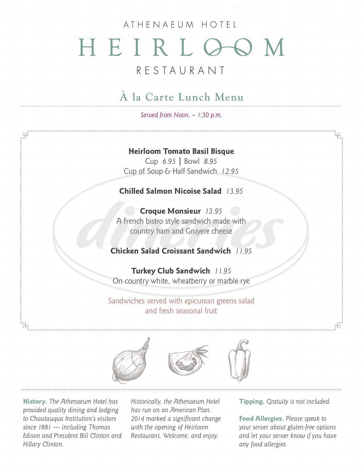 menu for Athenaeum Hotel