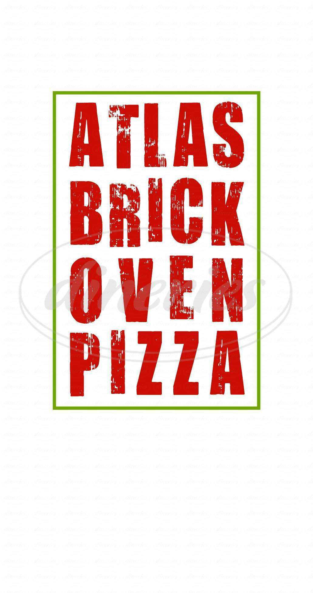menu for Atlas Brick Oven Pizza