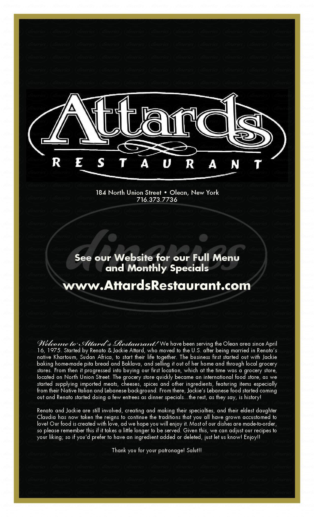 menu for Attard's Restaurant