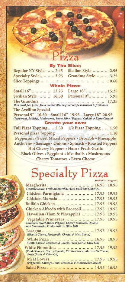 menu for Avellino Pizza & Pasta