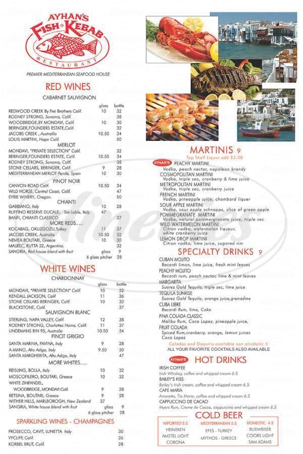 menu for Ayhan's Fish-Kebab Restaurant