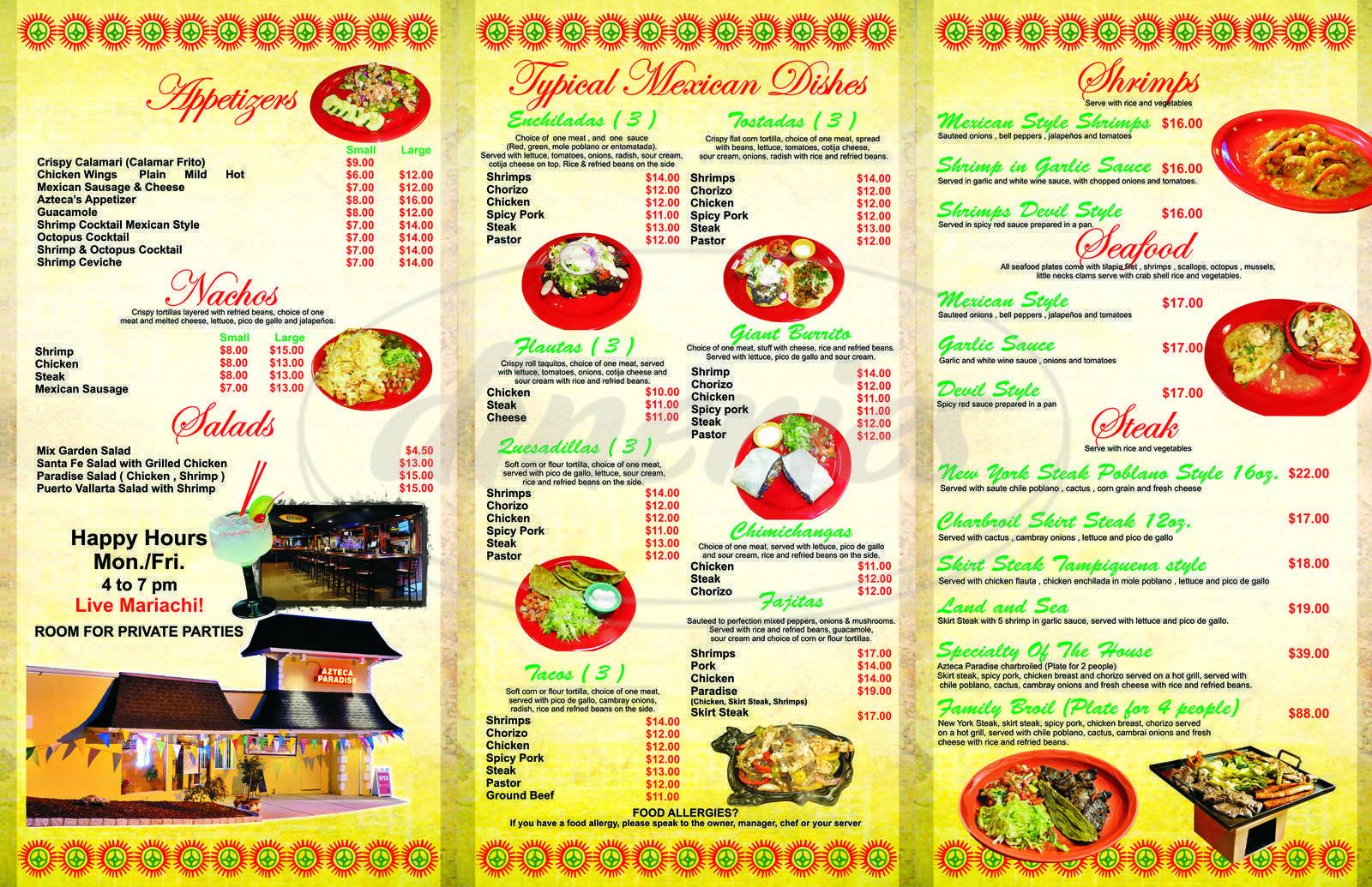 menu for Azteca Paradise