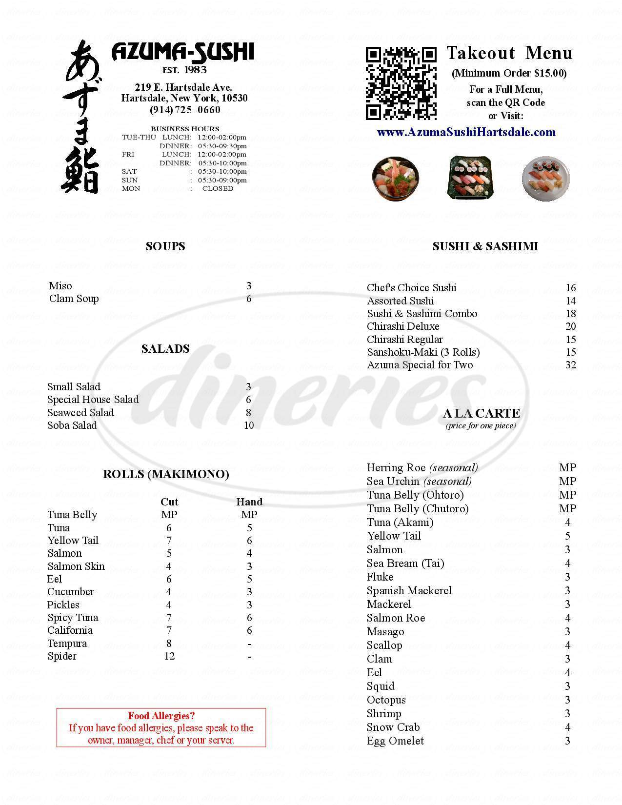 menu for Azuma Sushi