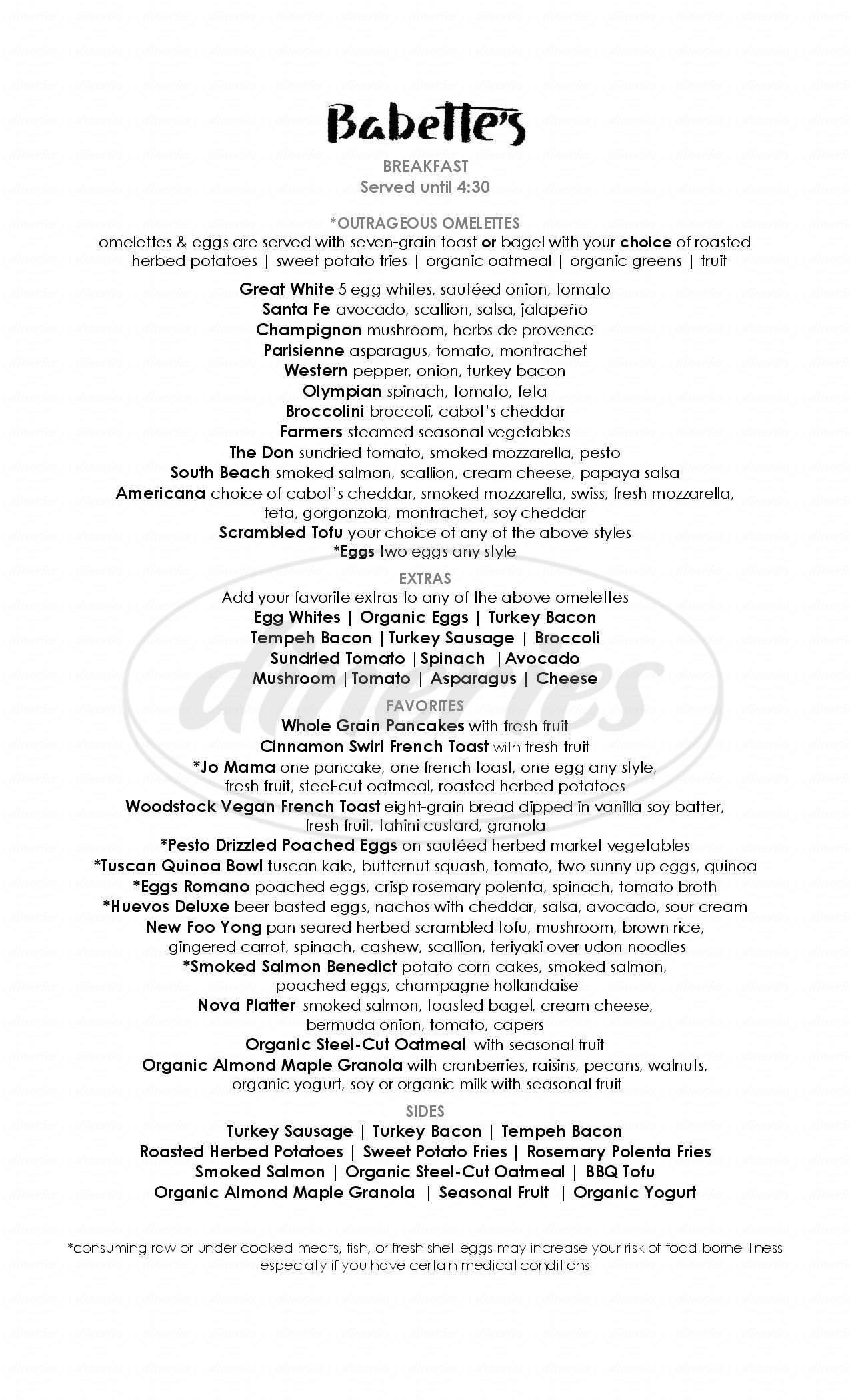 menu for Babette's