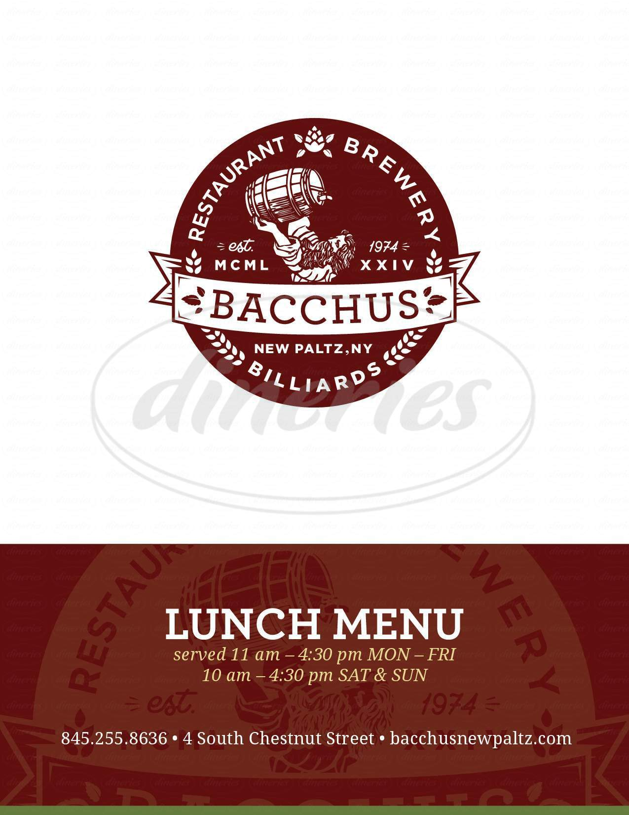 menu for Bacchus Restaurant