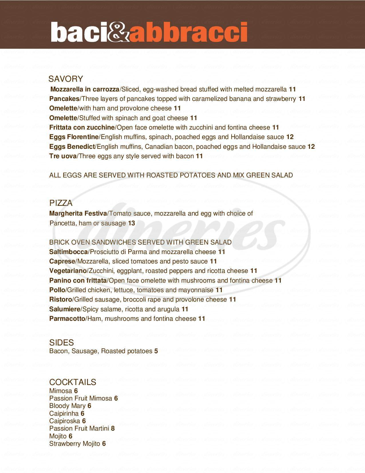 menu for Baci & Abbracci