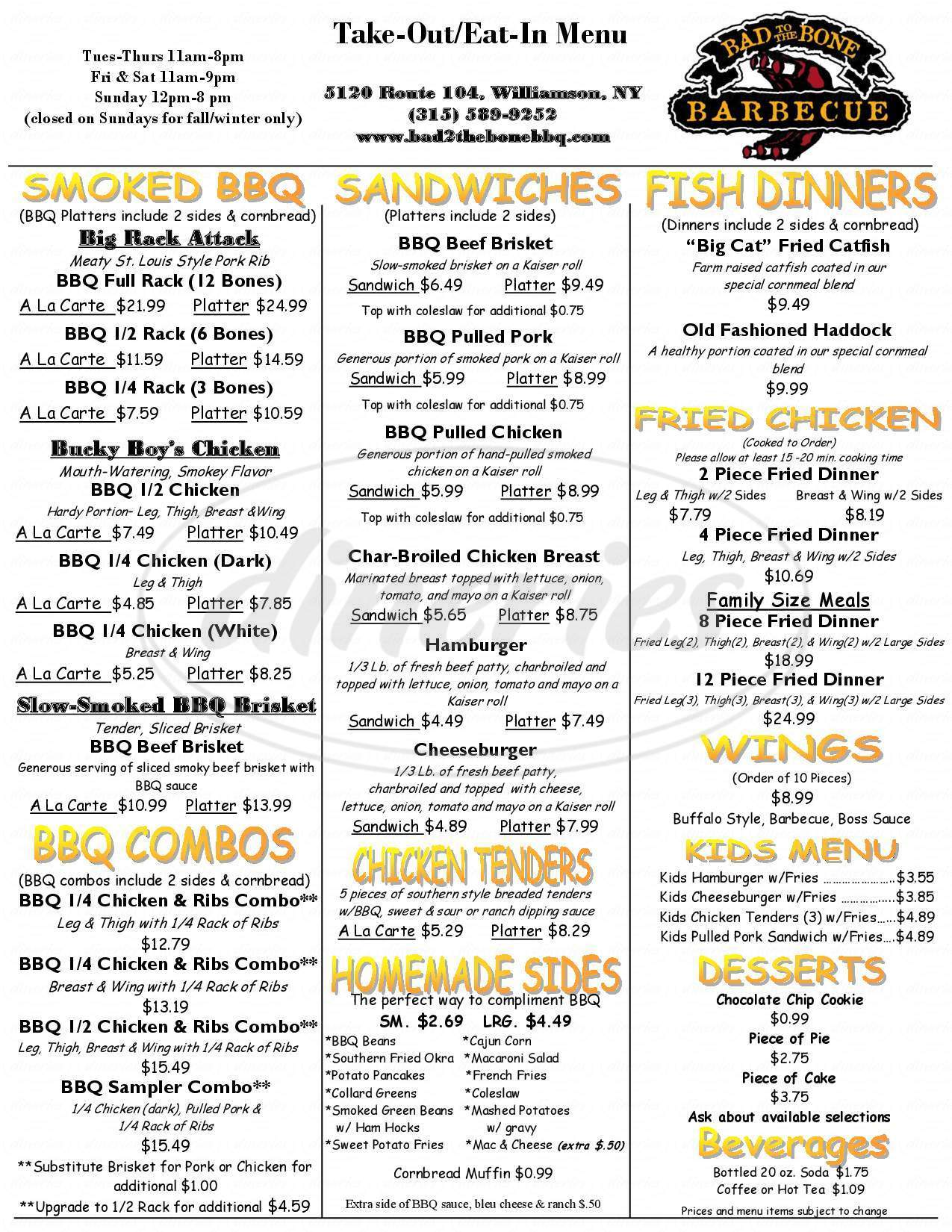 menu for Bad To the Bone Barbecue