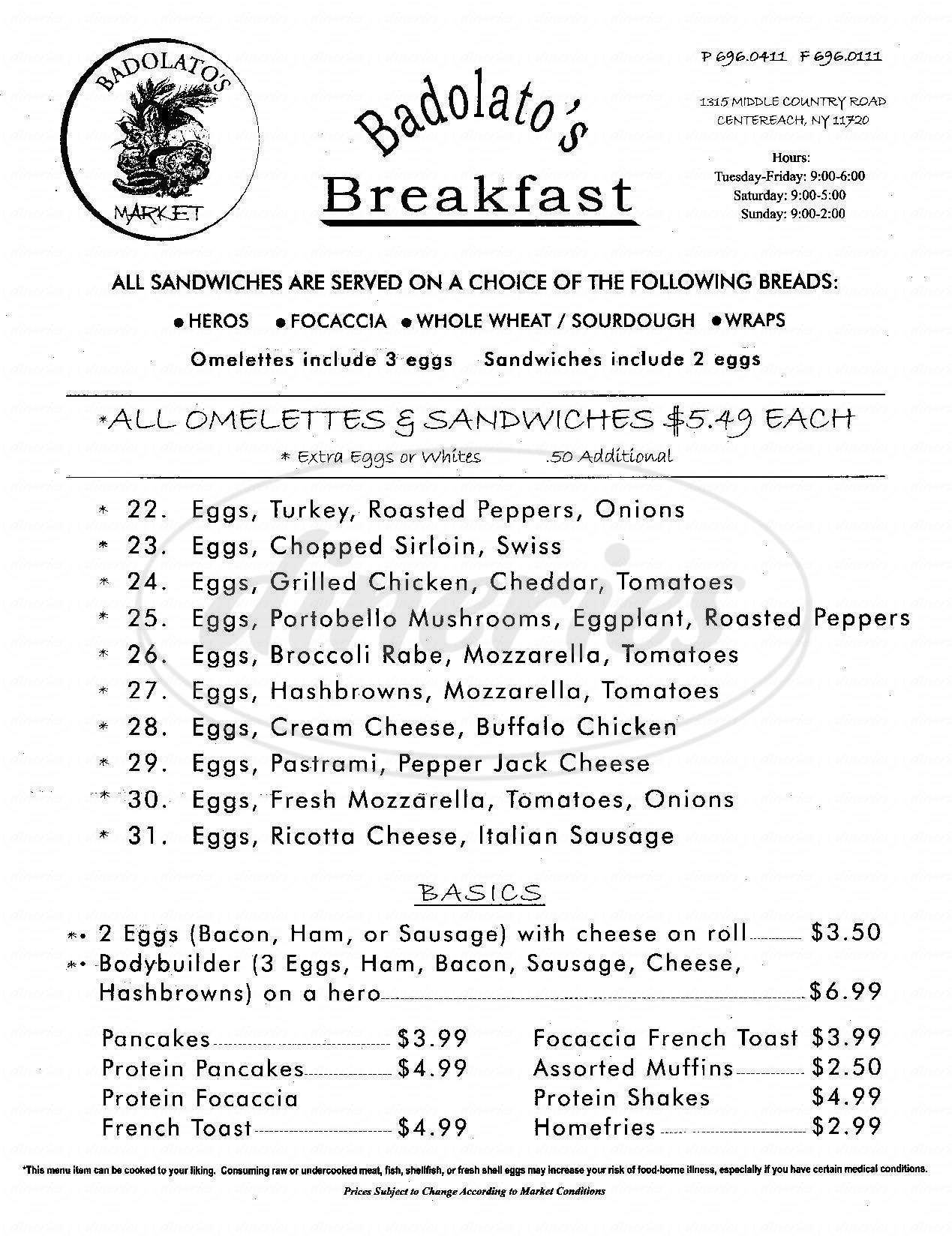 menu for Badolato's Market