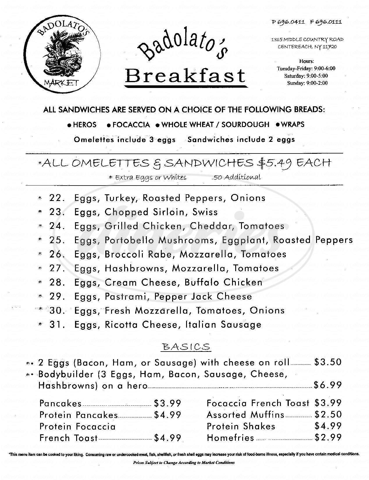 menu for Badolato's Market