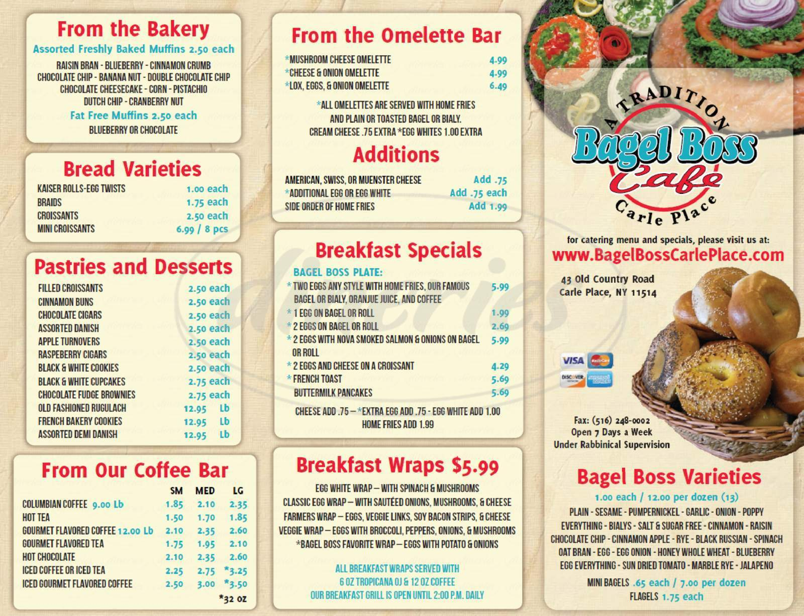 menu for Bagel Boss