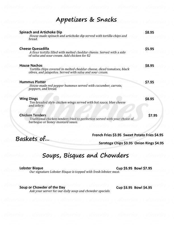 menu for Bailey's Cafe