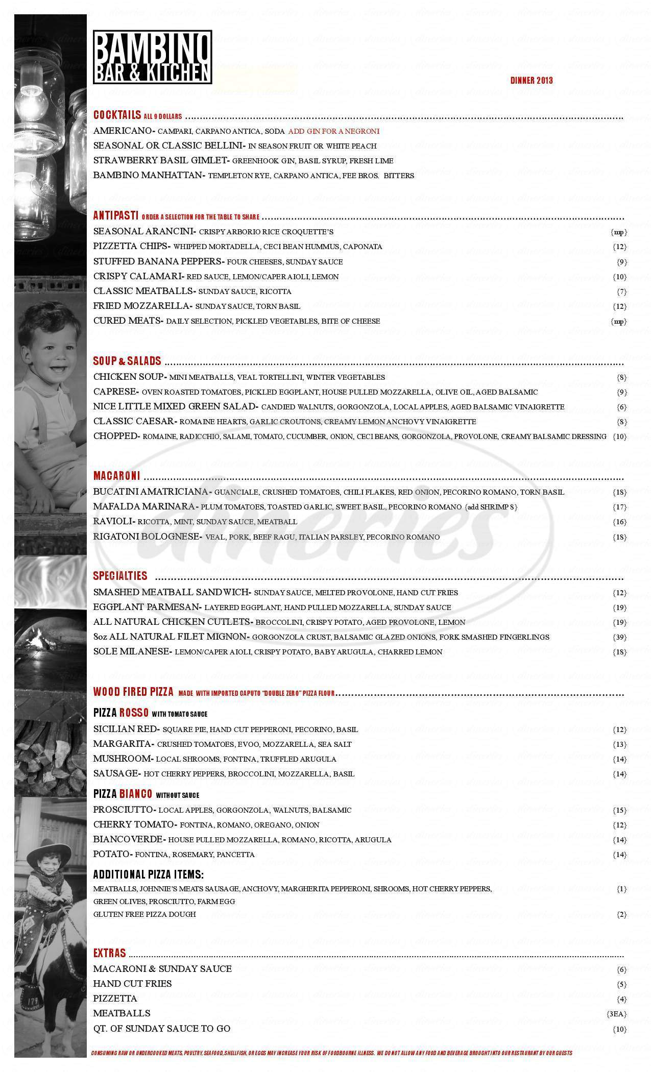 menu for Bambino Bar & Kitchen