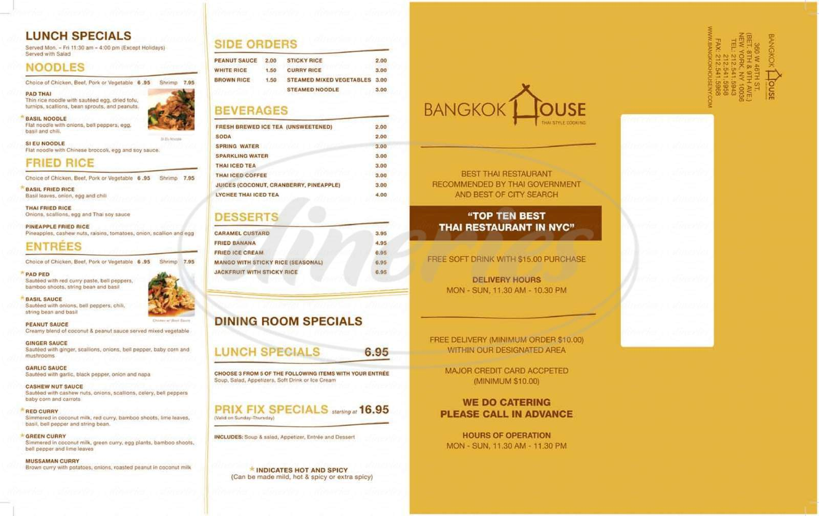 menu for Bangkok House
