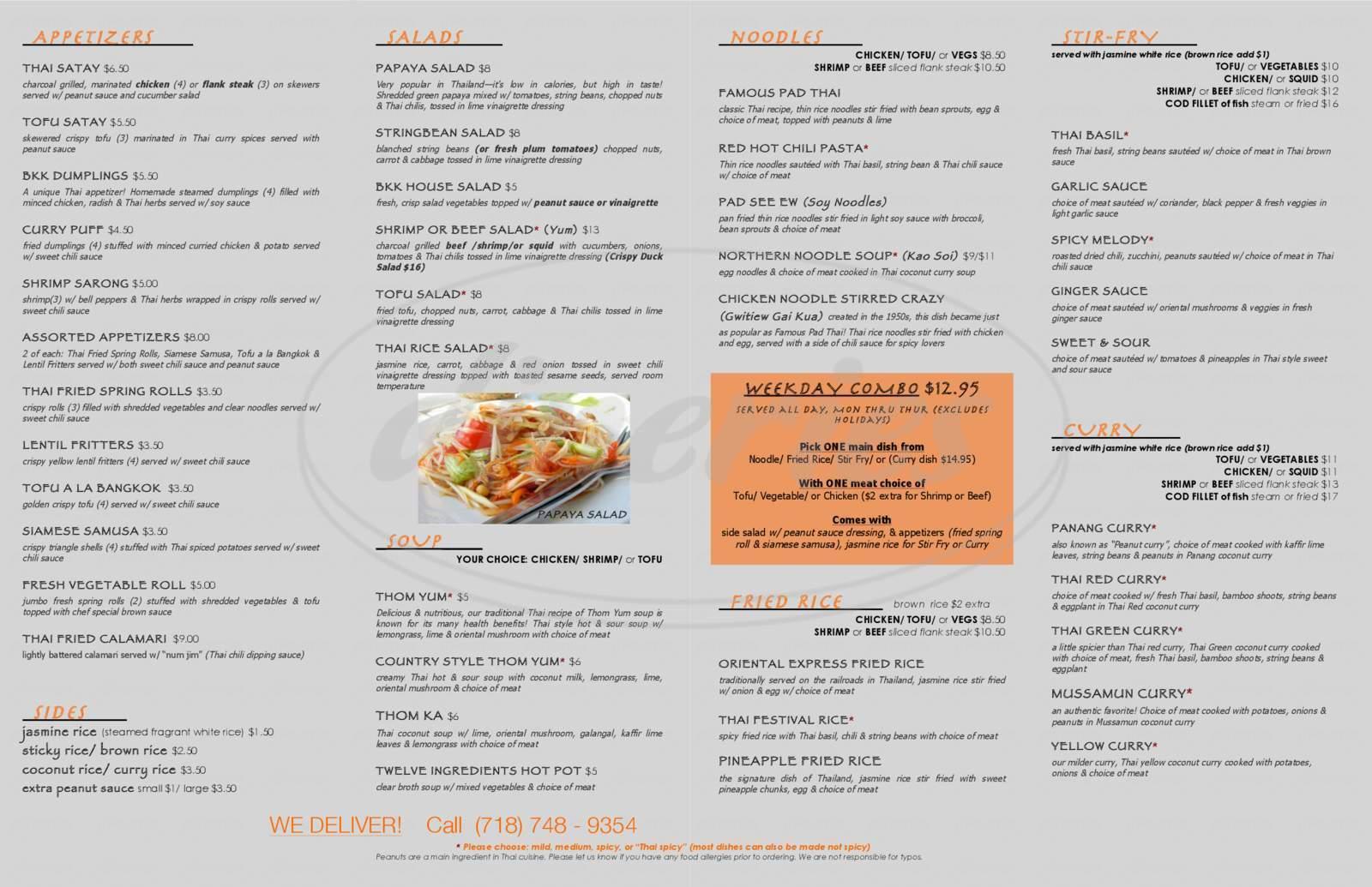 menu for Bangkok Thai House Restaurant