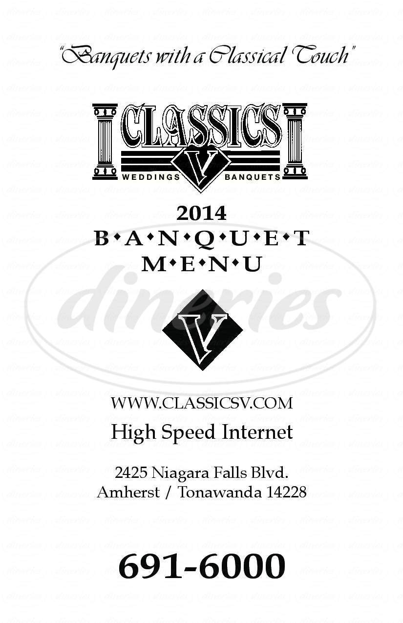 menu for Classics V Banquet & Conference Center