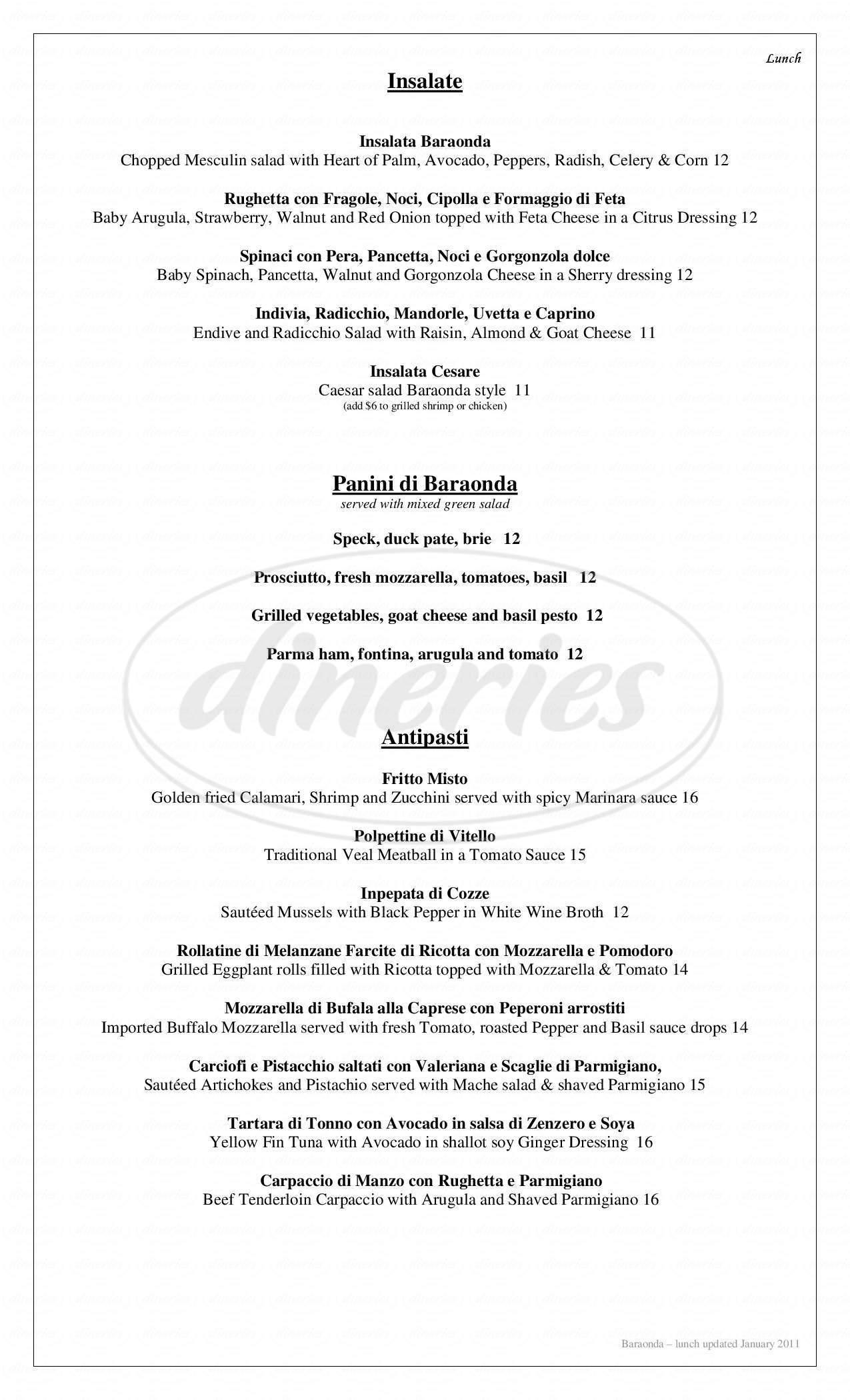 menu for Baraonda
