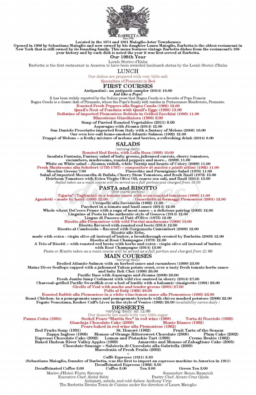 menu for Barbetta
