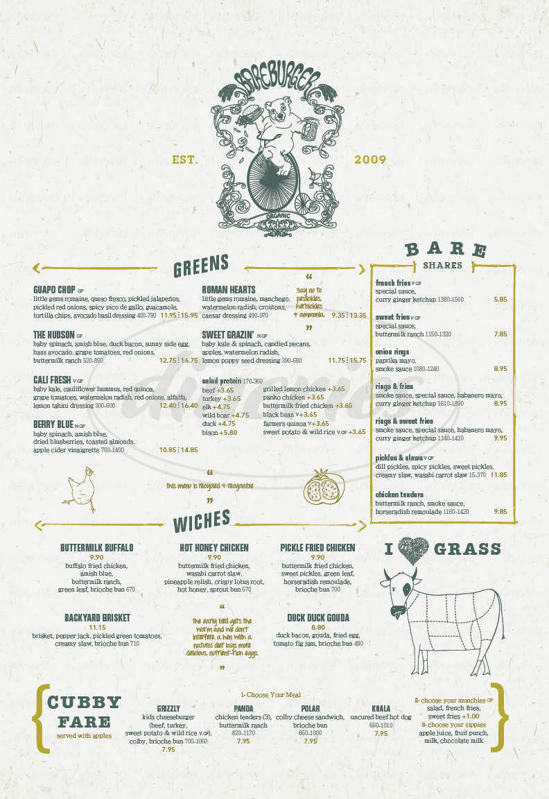 menu for Bareburger