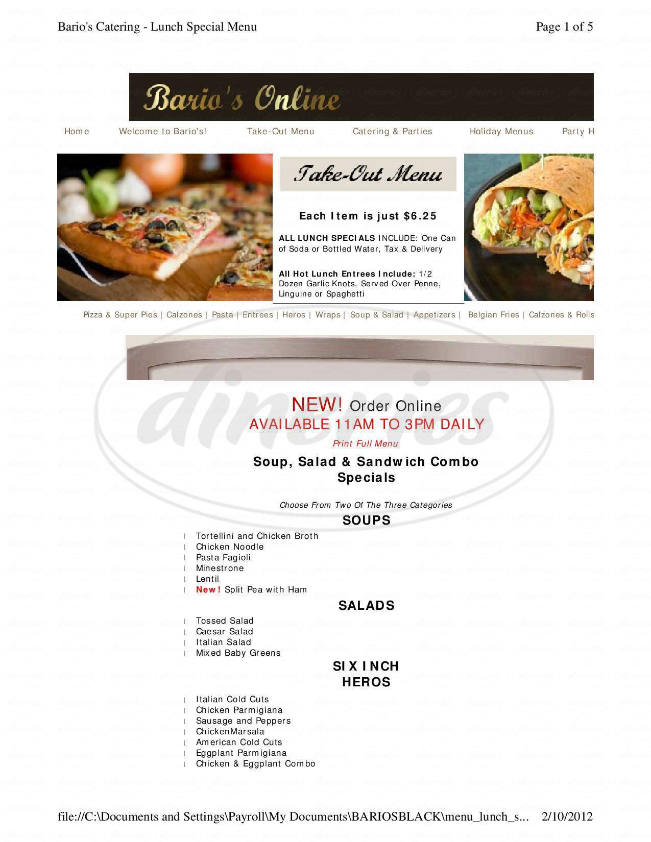menu for Bario's Restaurant