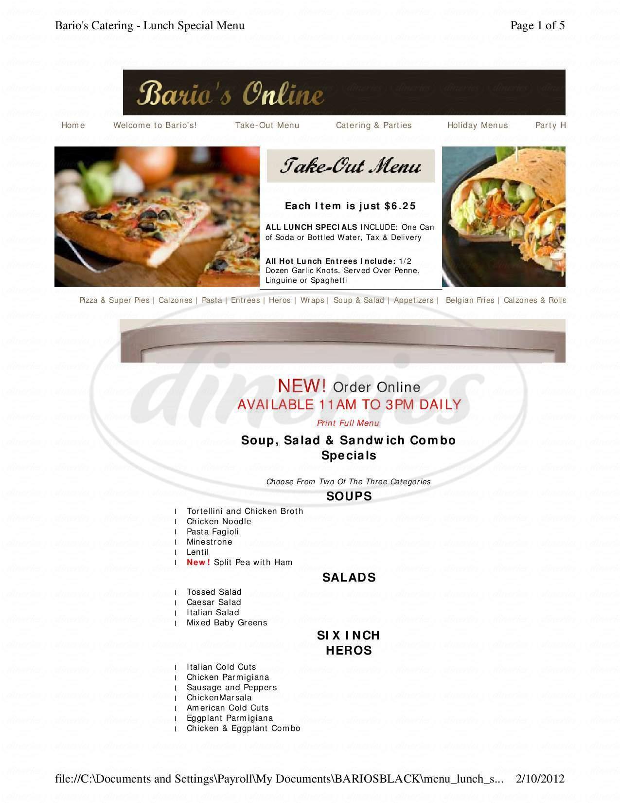 menu for Bario's Restaurant